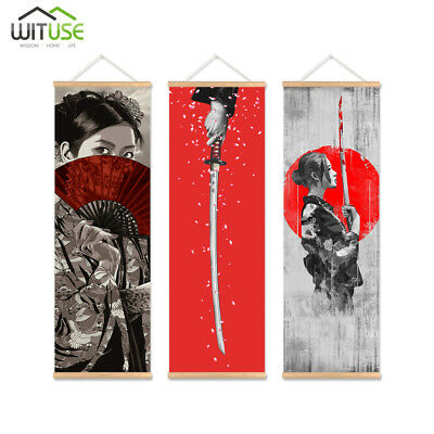 Japan Samurai Wall Art Picture Hanging Scroll Painting With Wood Hanger 3Pcs
