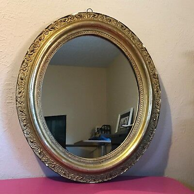 Antique Ornate Vintage Gold Gilt Gesso Oval Wall Mirror
