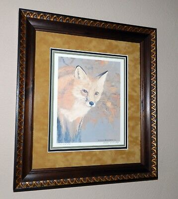 """Charles Beckendorf 1992 L.E. 11/500 Hand Signed Red Fox 17.5"""" x 15"""" Framed Print"""