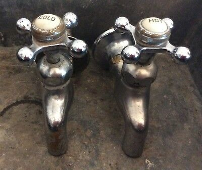 Antique Nickel Brass Separate Hot Cold Sink Faucet Plumbing, Porcelain Caps