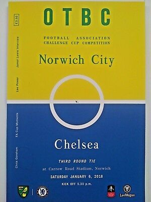 Norwich City v Chelsea FA Cup Winners 3rd Round 6/1/2018 MINT CONDITION.