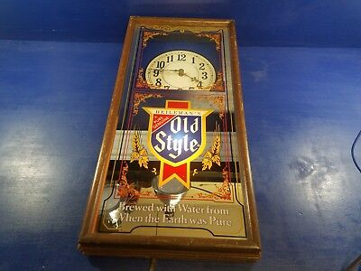 Vintage Heileman Old Style Beer Clock Mirror Light Lighted Sign Bud Miller
