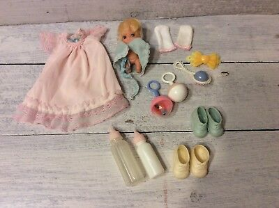 Vintage Baby Doll Accessory Lot- Rattles, Bottles, Nightgown, Shoes, Hong Kong