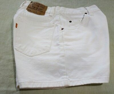LEVIS VTG Women's High Waist White Denim Shorts 912 Orange Tab Slim Fit SZ 9 USA