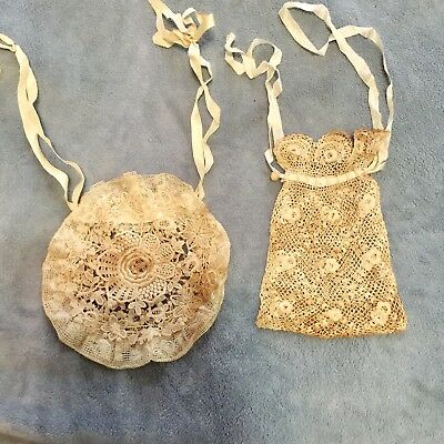 LOT of 2 - C 1900 Antique Victorian 1 Hand Crochet 1 Round Lace Purse Drawstring