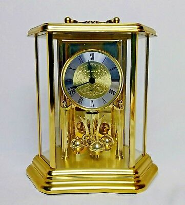 Made in W. Germany - 12 Hr Bulova Quartz Anniversary Shelf Clock - Brass & Glass