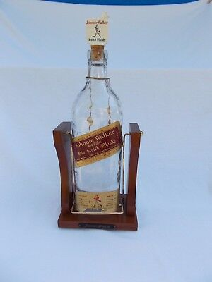 antique HAND BLOWN Johnnie Walker Large Whisky Bottle  & Swing Cradle man cave