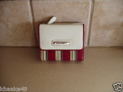 Longaberger Holiday Stripe Small Wallet Removable Id Holder Nip * Free Shipping