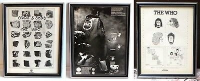 Lot of 2 Framed Vintage THE WHO Print Ads Quadrophenia + By Numbers