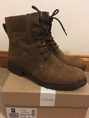 ffe95279c13e73 Women s Clarks Brown Snuff Orinoco Spice Wide Fit Leather Ankle Boots Size  7.5