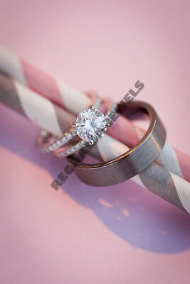 14K White Gold Over 2CT Diamond Engagement Ring Wedding Trio Set For His & Her