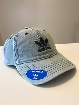 2e5cb9b6bfbf2 Adidas Mens Originals Relaxed Washed Blue Denim Strapback Hat Cap Trefoil  BI0079