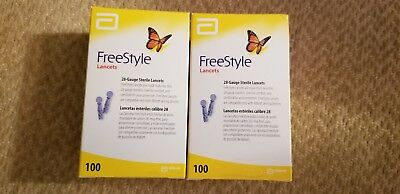 Freestyle lite lancets 2 BOX of 100 for Diabetic Blood glucose testing 2020/07