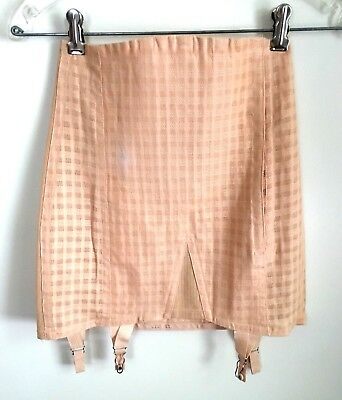Vintage 1940's boned cotton girdle corset open bottom garter nice