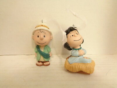 2001 Hallmark Peanuts Charlie Brown &  Lucy Nativity 2 Porcelain Ornament Set