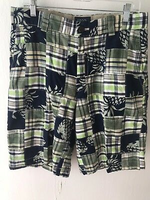 Izod Mens Plaid Tropical Pineapple Print Bermuda Golf Shorts 100% Cotton Sz 32