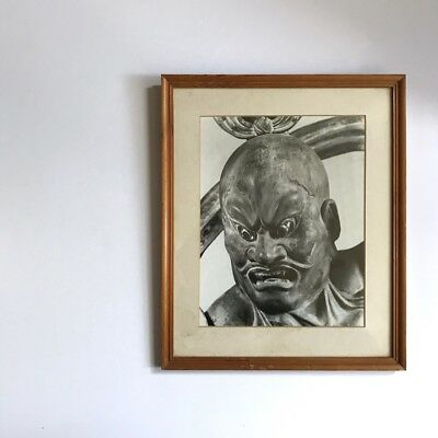 Antique framed Nio Guardian - print depicting a Japanese entrance statue