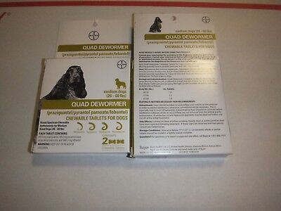 Bayer Expert Care Quad Dewormer Chewables  medium dog 26-60 lbs 2-boxes