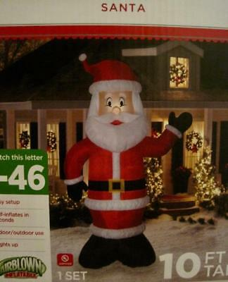 Airblown Outdoor Decor~Santa Claus Lighted Inflatable~10 Ft~Nib
