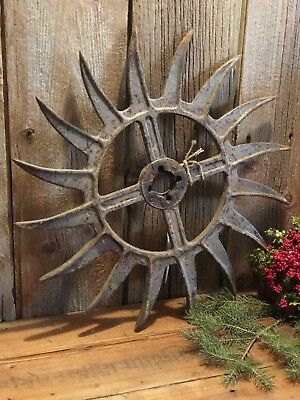 Vintage Industrial Iron Rotary Hoe Cultivator Wheel Garden Farm Yard Art