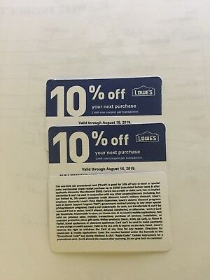 3 Lowes 10% off Coupons (Only Good at Home Depot) $4.99 Expire Aug 15th 2019