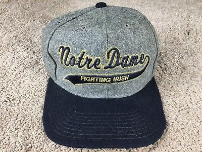Vintage Notre Dame Fighting Irish Hat Starter Snapback Cap Melton Wool Script