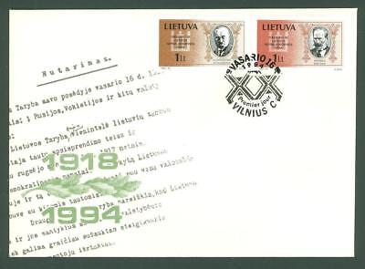 Lithuania D91 FDC 1994 2v Politicians Persons Below face