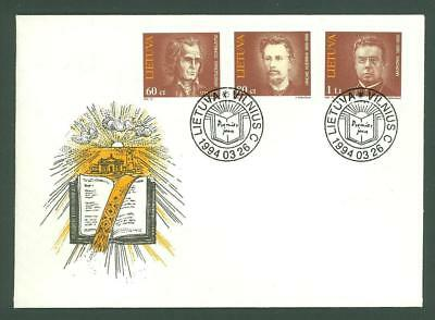 Lithuania D92 FDC 1994 3v Literature Poets Below face