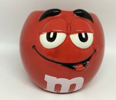 Red M&M Mug Collectors Round with painted face Novelty collectable cup
