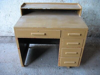"RETRO OFFICE DESK  36"" wide, 24"" deep. ONLY £15 TO CLEAR !!  5 drawers in total"