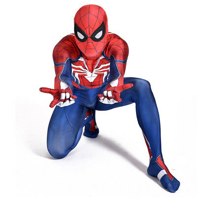 For PS4 Spiderman Costume Adult And Kid Spandex Lycra Zentai 3D Bodysuit Cosplay