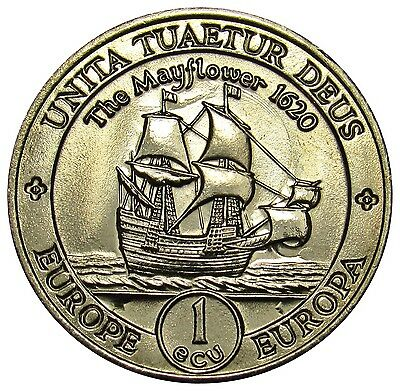 Great Britain UK 1 ECU Token Coin 1995 The Mayflower 1620 sailing ship UNC DE03