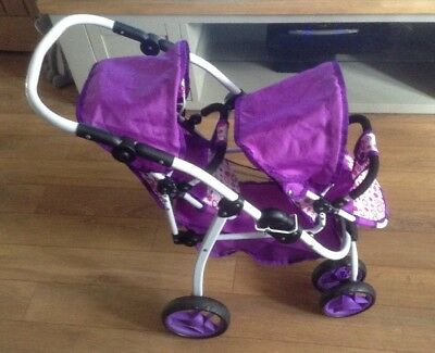 Twin Dolls Double Pram Reversible Pushchair Tandem Stroller Double Dimples Ella