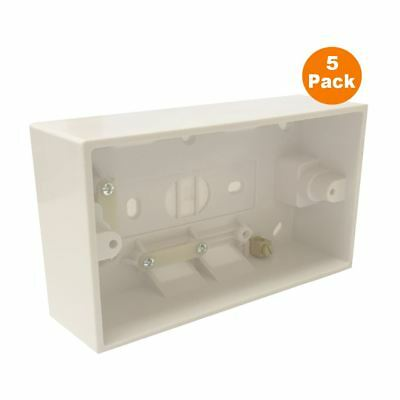 5 x Surface Mounted 41mm Back Box Double Pattress for 2 Gang Cooker Switches