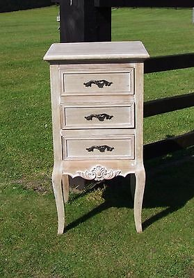French Louis Xv Shabby Chic Style 3 Drawer Bedside Chest (Cy16815)