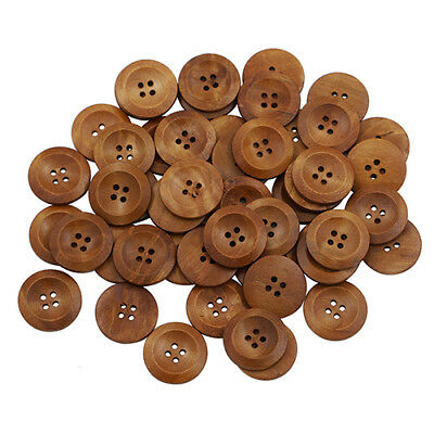 50 Pcs Wooden 4 Holes Round Wood Sewing Buttons DIY Craft Scrapbooking 25MM Wide