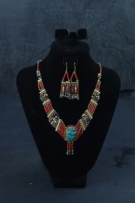 Handmade Egyptian Scarab Beetle Accessories Necklace & Earrings