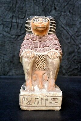 Heavy Handmade Ancient Egyptian Baboon / Monkey Statue 8.4""