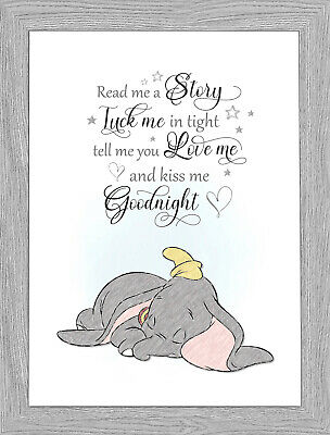 Dumbo Elephant New Born Baby Christening Baby Shower Wall Art A4 Print Only)
