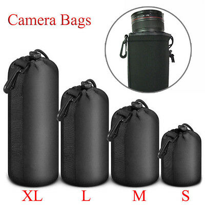 S/M/L/XL DSLR Camera Soft Lens Covers Pouch Protector Padded Bag 4 Case Set