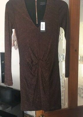 Gorgeous Ted Baker Dress Size 8 Occasion Dress Party Designer Dress copper Brown