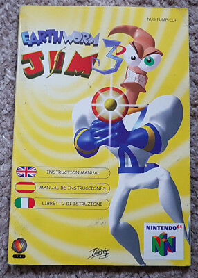 Replacement Manual for Earthworm Jim 3 on N64 MANUAL ONLY