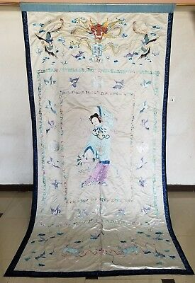 Huge Antique Chinese Hand Embroidered Figurative Wall Hanging Panel (X913)