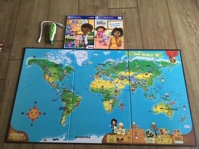 Leapfrog Leapreader Interactive 2 Sided World Map With Tag Reader