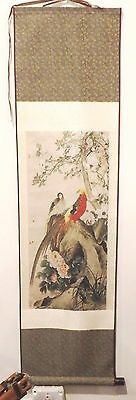"""Chinese Silk Wall Hanging Scroll Florals and Birds (pheasants ?) 47"""" Wood Ends"""