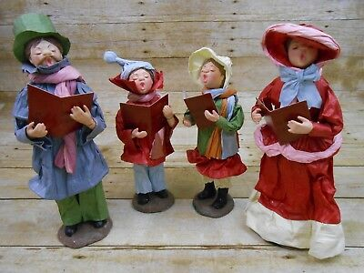 Vintage Set of 4 Paper Mache Carolers Family Choir Christmas Victorian Figures
