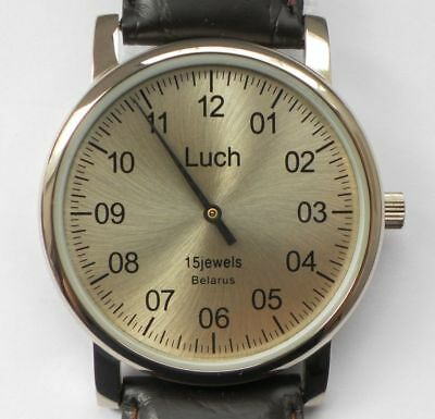 Luch One Hand Mechanical Wristwatch Men's Vintage Yellow Gold 337477761 EN