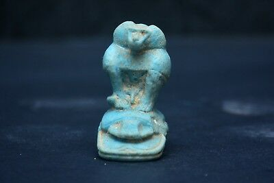 Handmade Porcelain Egyptian Baboon Monkey setting on Scarab Mascot Statue