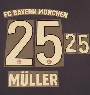 MULLER 25 Home 18/19 Bayern Iron On Name & Number Set For Football Shirt Germany