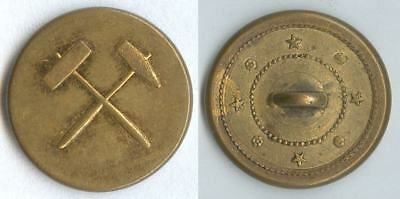 Knopf Bergbau um 1850 Uniform button bottone 22mm gelb flach